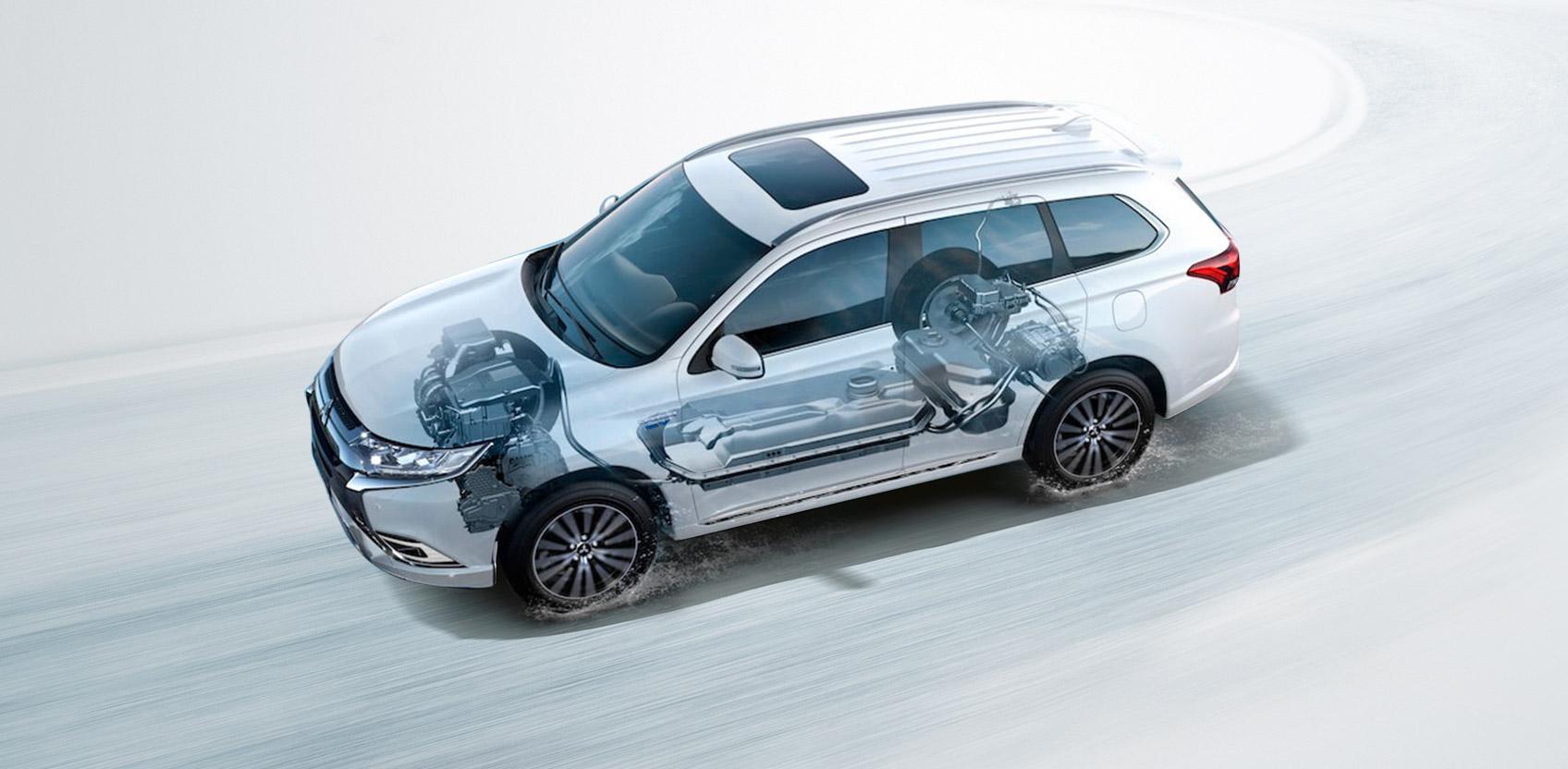Heddier-Gruppe Mitsubishi Outlander Plug-in Hybrid Antrieb technische Darstelllung
